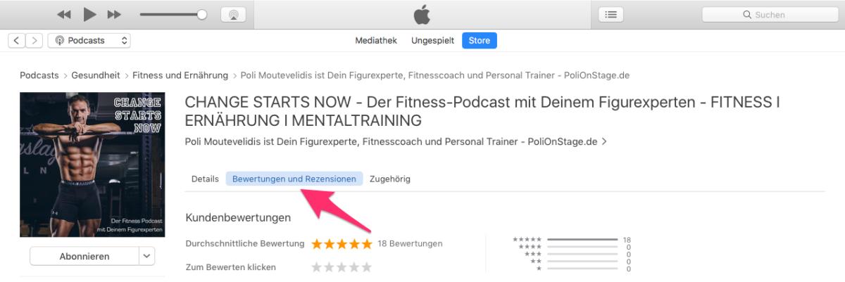 Du bist nur einen Klick von der iTunes Bewertung des Podcast entfernt