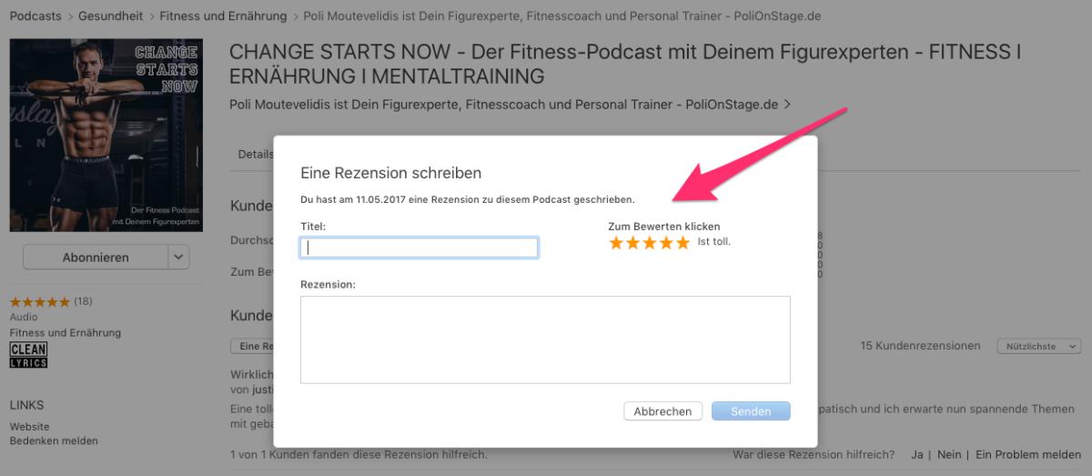 Im Fenster Rezensionen, kannst Du nun Deine Rezension zum Fitness Podcast schreiben.