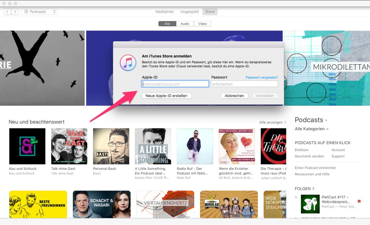 Log Dich mit Deinem Account bei iTunes ein