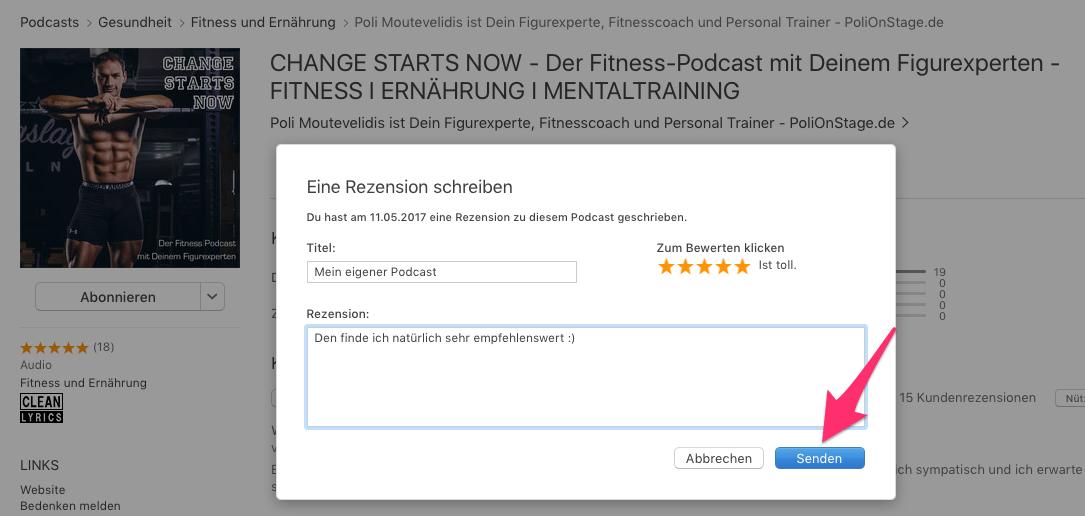 Hier führst Du die Rezension zum Fitness Podcast auf iTunes durch
