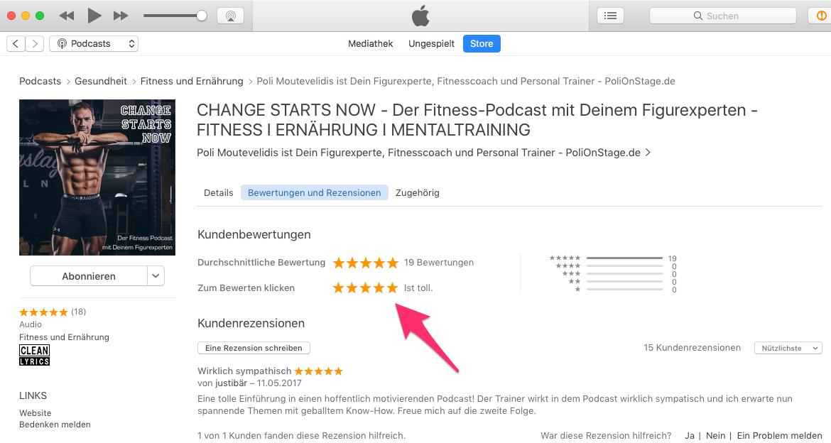 Zwischen 1 bis 5 Sterne für die Podcast Bewertung