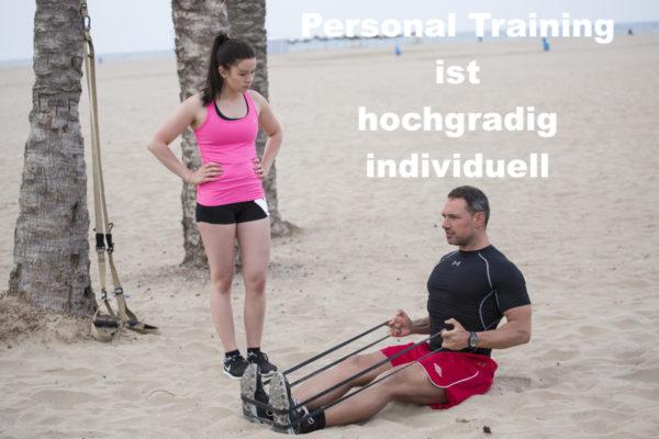 Auch in Valencia am Strand beim Personal Training