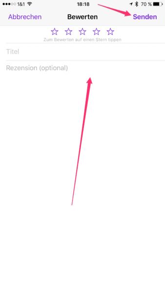 Das Fenster zu den Rezensionen in der Podcasts App