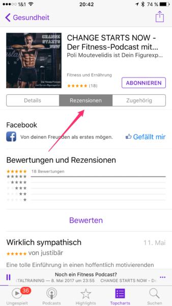 In der Podcasts App klickst Du nun auf Rezensionen