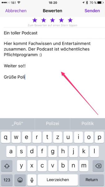 Rezension zum Podcast auf dem iPhone